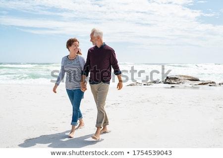 gelukkig · paar · lachend · samen · lopen · strand - stockfoto © juniart