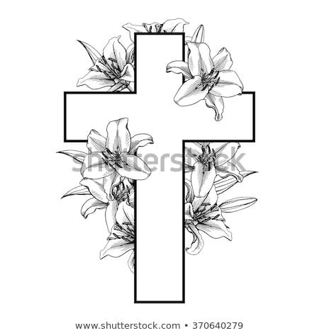 Christian cross. Easter card. vector illustration Stock photo © carodi