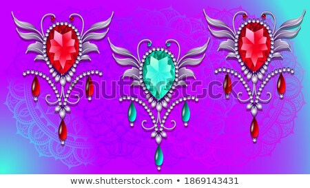 background  frame with ornaments made of precious stones and pea Stock photo © yurkina