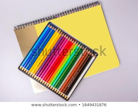 Multi color pencils and sharpen on sketchbook  Stock photo © nalinratphi
