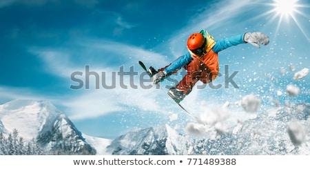 Ugrik snowbordos levegő kék ég sport hegy Stock fotó © smuki