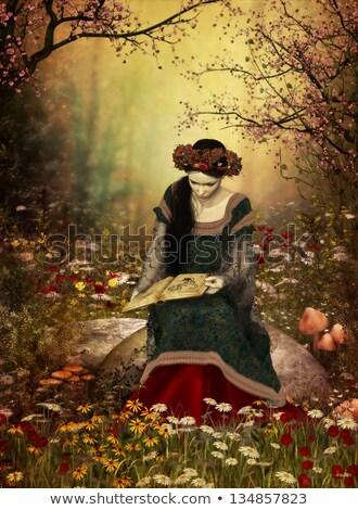 Foto d'archivio: Elf · principessa · pietra · giardino · bella · ragazza
