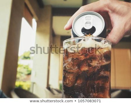 Cola verre glace bleu alimentaire Photo stock © master1305