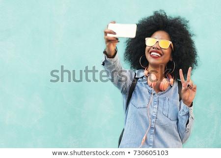 女性実業家 · 写真 · スマートフォン · 幸せ · 小さな - ストックフォト © deandrobot