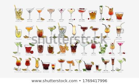 koktél · menü · terv · színes · borospoharak · üvegek - stock fotó © netkov1