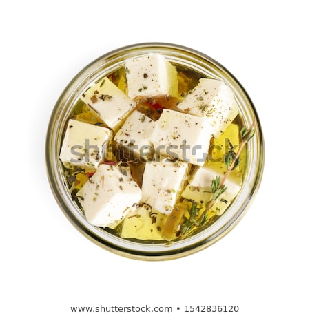 フェタチーズ 漬物 マリネ 食品 木材 プレート ストックフォト © Digifoodstock