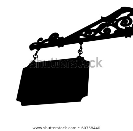 silhouette old store front sign with elegant curls and chain Stock photo © Melvin07