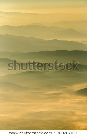 Colline tramonto misty montagna foresta russo Foto d'archivio © yhelfman