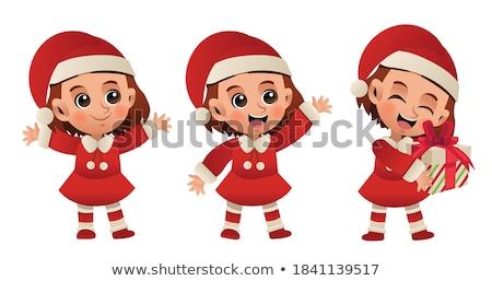 little cute santa girl vector illustration stock photo © carodi