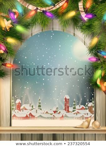 natal · cena · aldeia · eps · 10 · queda · de · neve - foto stock © beholdereye