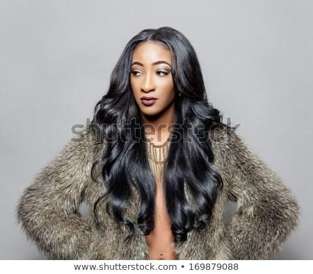 красивой африканских женщину долго вьющиеся волосы Purple Сток-фото © lubavnel
