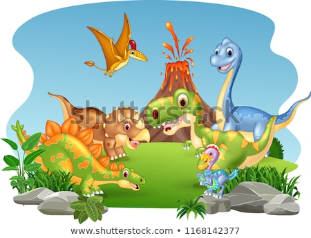 Cartoon dinosaures vert Photo stock © christina_yakovl