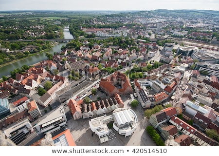 Bird's eye view over Ulm, shot from the tower of the minster Stock photo © meinzahn