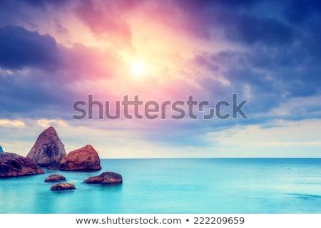 удивительный · закат · сцена · тропический · пляж · вечер · время - Сток-фото © taiga