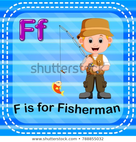 Flashcard letter F is for fisherman Stock photo © bluering