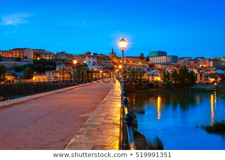 Zamora skyline at sunset by Duero river Spain Stock photo © lunamarina