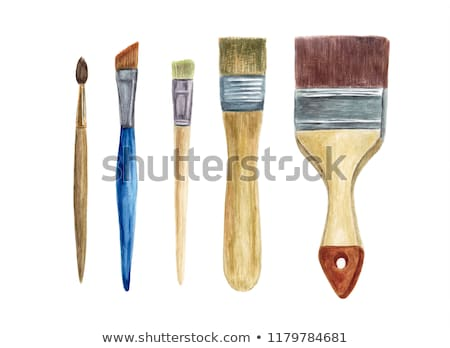 Stock photo: Watercolors and paint brush on wooden background
