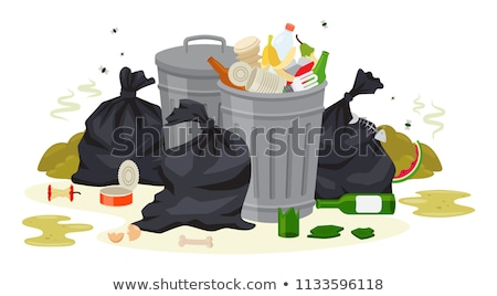Stock photo: Trashcans and pile of trash