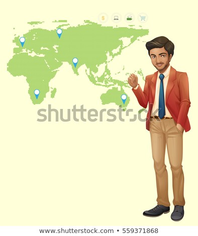 Businessman and locations on worldmap Stock photo © bluering
