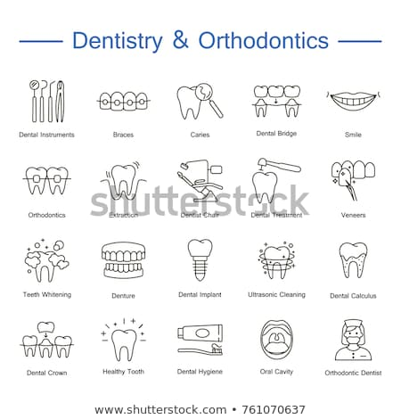 Stock photo: Dentist, orthodontics line icons. Dental care equipment, braces, tooth prosthesis, veneers, floss, c