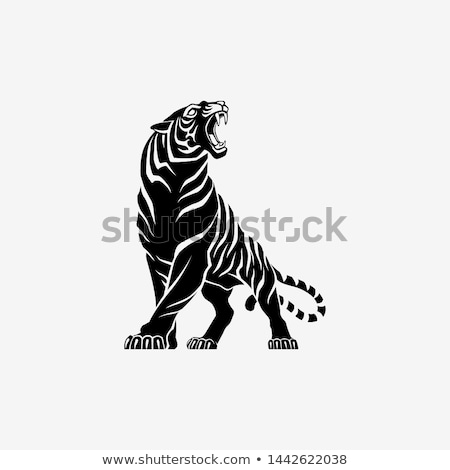 Wild tiger at the zoo sign Stock photo © bluering