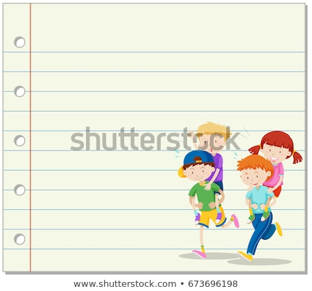 Line paper with kids playing piggy back ride in background Stock photo © bluering