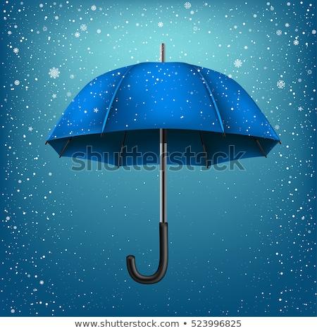Esernyő azúr hó kék karácsony új év Stock fotó © romvo