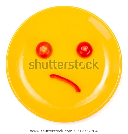 Wondering smiley face made on plate Stock photo © erierika