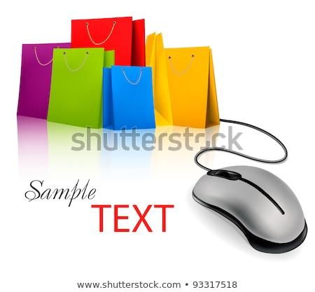 Сток-фото: корзина · Компьютерная · мышь · изолированный · электронной · коммерции
