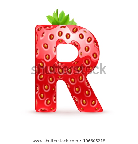Letter R Strawberry font. Red Berry lettering alphabet. Fruits A Stock photo © popaukropa