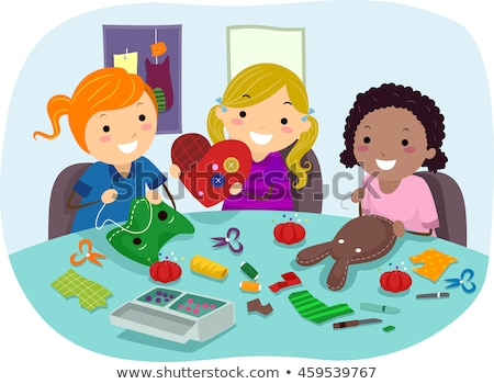 stickman kids sewing party crafts girls stock photo © lenm