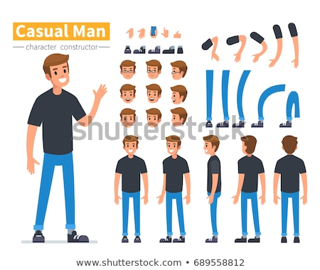 Side View Males Flat Style, Man Constructor Set Stock photo © robuart