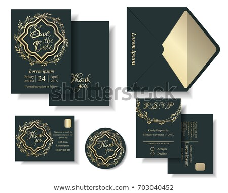 mandala style wedding invitation template with thank you and rsv Stock photo © SArts