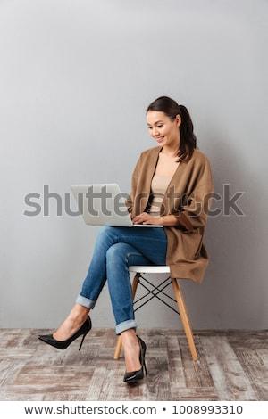 Iş kadını oturma sandalye yalıtılmış beyaz iş Stok fotoğraf © hsfelix