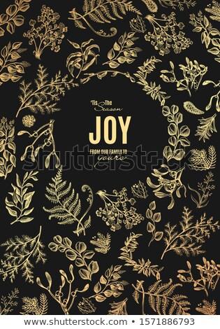 karácsonyfa · golyók · keret · kép · piros · dekoráció - stock fotó © popaukropa