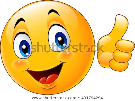Yellow Hand Giving Thumbs Up Gesture With Cartoon Face Stock photo © hittoon