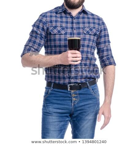 Verre bouteille bière boire blanche Photo stock © SergeMat