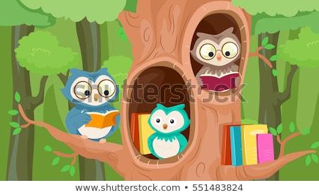 könyvek · fa · globális · oktatás · vektor · akta - stock fotó © lenm