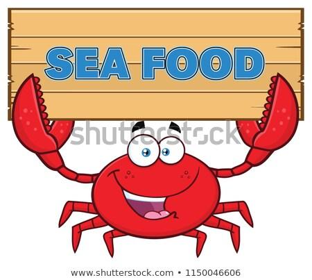 Crabe mascotte dessinée personnage texte Photo stock © hittoon