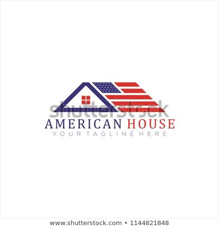 Amerikai épület beszállító USA zászló ikon Stock fotó © patrimonio