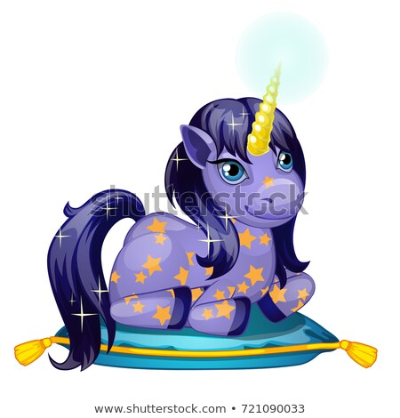 Cute shining unicorn pony with a Golden horn lies on a soft pillow isolated on white background. Vec Stock photo © Lady-Luck