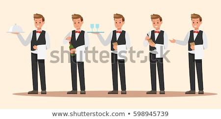 Lächelnd Karikatur Kellner Illustration Männer Person Stock foto © cthoman
