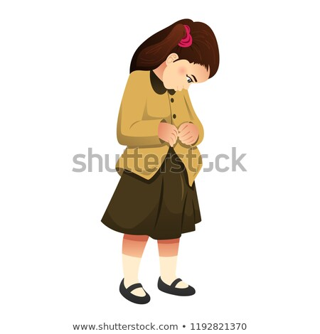Little Girl Buttoning Her Clothes Illustration Stockfoto © Artisticco
