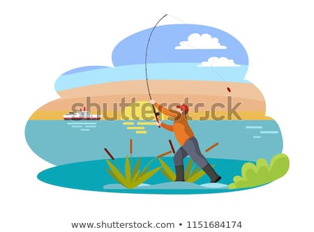 Fisherman with Fishing Rod among Bulrush Vector Stock photo © robuart