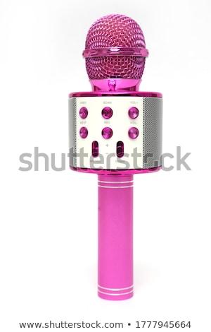 Draadloze microfoon hoofdtelefoon grijs hout muziek Stockfoto © magraphics