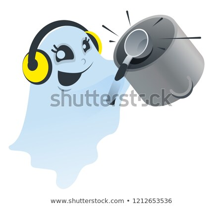 Funny white spook knocking ladle on pan Stock photo © orensila