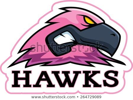 Cartoon roze havik mascotte illustratie hoofd Stockfoto © cthoman