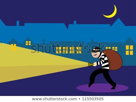 Cartoon Burglar Money Bag Stock photo © cthoman