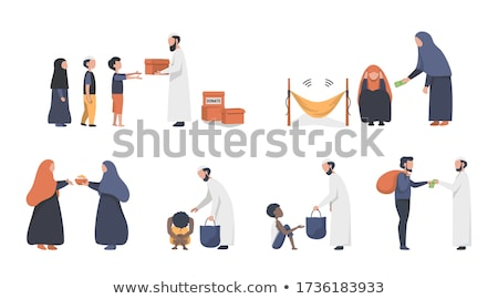 Tipo árabes establecer árabe hombre dinero Foto stock © toyotoyo