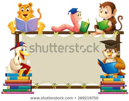 Frame template with duck reading book Stock photo © colematt